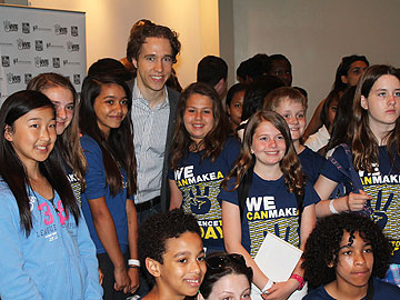 Co-Founder Craig Kielburger with supporters of Free The Children