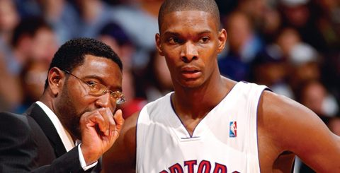 Raptors Basketball Star Chris Bosh with coach Sam Mitchell