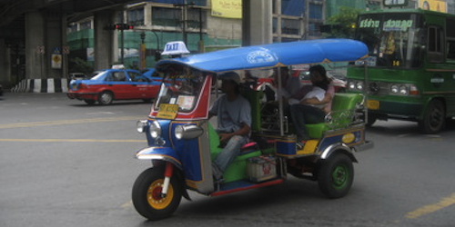 A tuk-tuk in Bangkok traffic