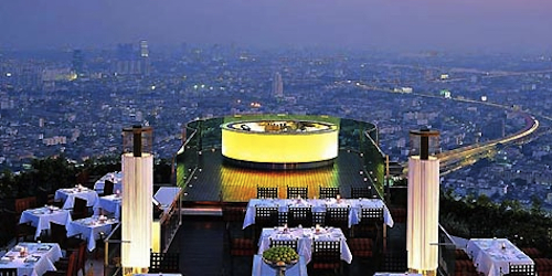 Sirocco Sky Bar on the roof of the Lebua Hotel in Bangkok