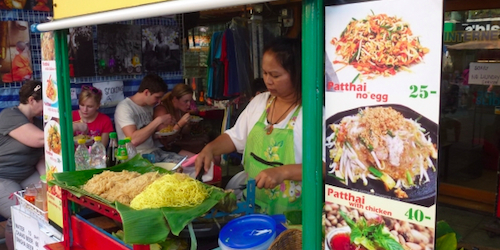 Street food vendor in Bangkok selling Pad Thai