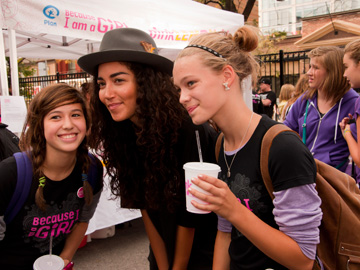 Because I Am A Girl Pink LemonAid Event Sarah Taylor with fans