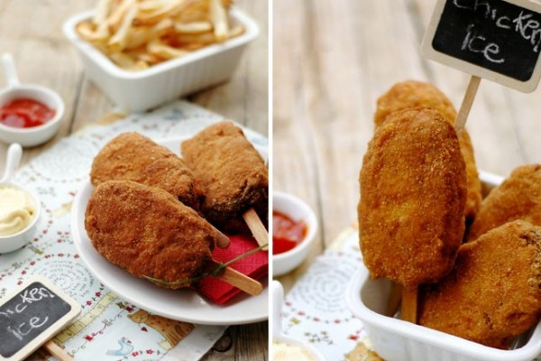 chicken nuggets on a stick
