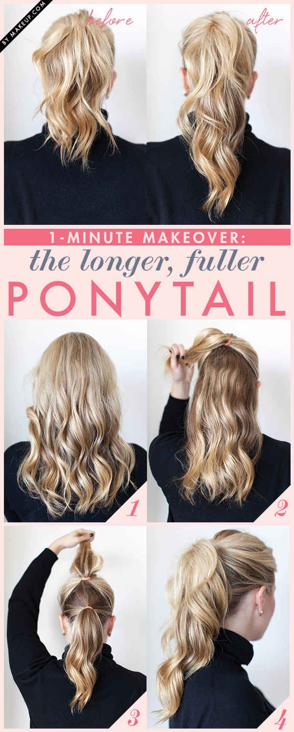Pictorial on how to add volume and length to your ponytail in a step by step instruction