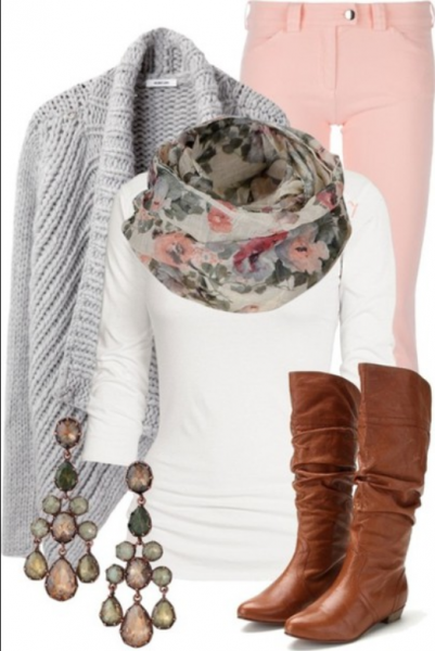 A spring outfit featuring a floral scarf