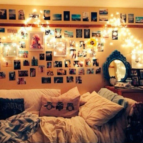 Photo wall dorm room.