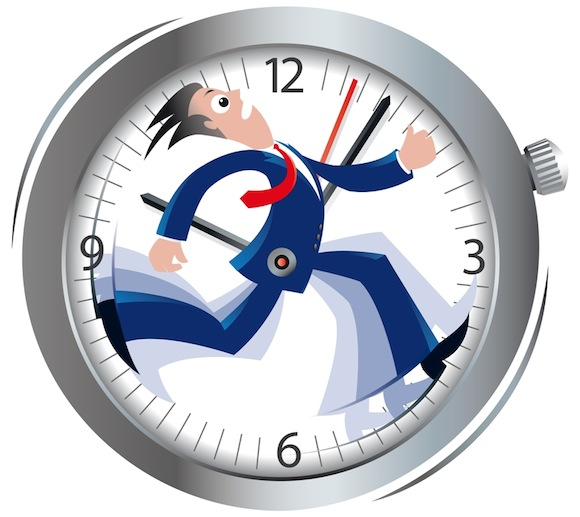 A guy running on a clock.