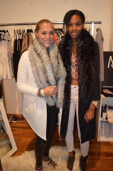Amanda Maria (Left) and Faze Intern Kayla (Right) posing with scarves from Amanda's Fall/Winter 2015 collection.