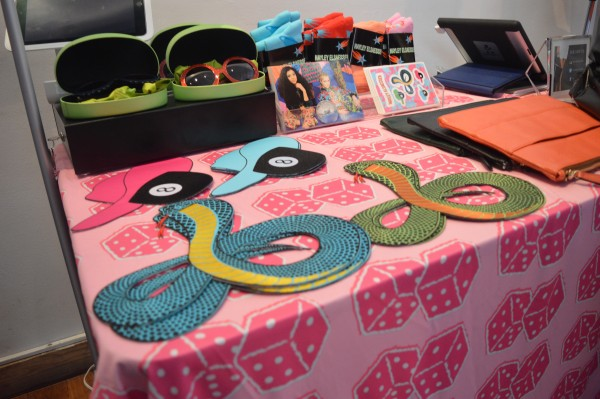 Accessory table with Hayley Elsaesser designs.