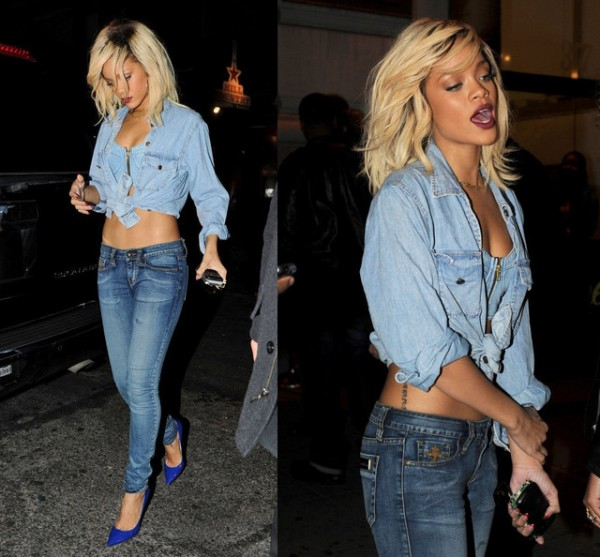 rihanna, denim on denim, double denim