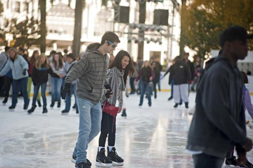 Ice skating couple.