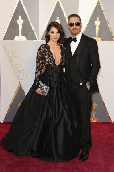 Tom Hardy, Charlotte Riley, Oscars, dresses, gowns, designer