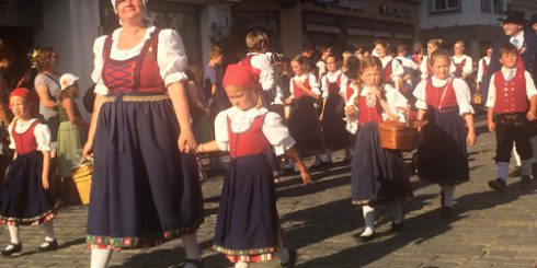 Locals from Straubing walking through the city during the Gäuboden Festival