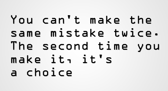 We Can't Make The Same Mistake Twice
