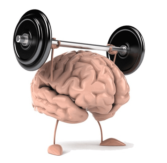 cartoon image of a brain lifting weights
