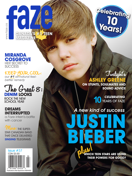 Justin Bieber on cover of Faze Magazine