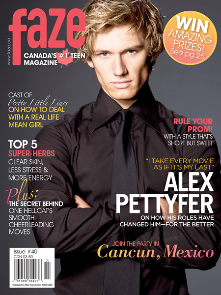 Alex Pettyfer on cover of Faze Magazine