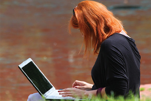 Image result for redhead on laptop