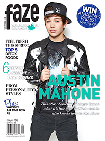 Austin Mahone on cover of Faze Magazine