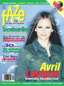 Avril Lavigne first cover ever, on Cover of Faze Magazine