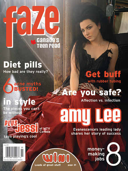 Amy Lee from Evanescence on the cover of Faze Magazine