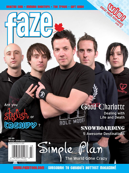 Simple Plan on the cover of Faze Magazine