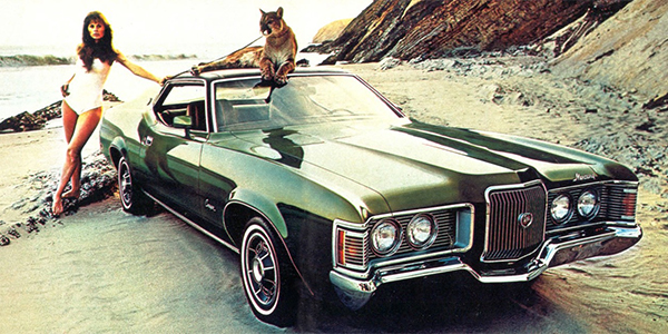 woman old used car mercury cougar