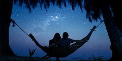 star gazing couple hammock