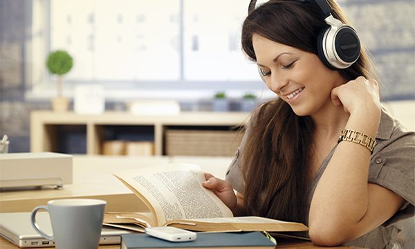 student headphones music stress free