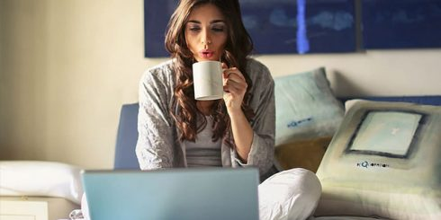 woman coffee internet usage laptop