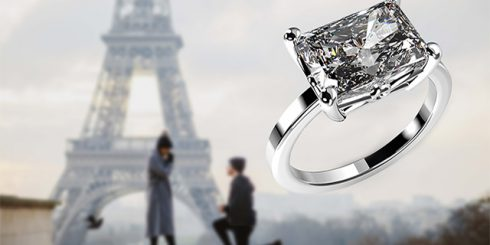 Platinum Art Diamond Engagement Ring