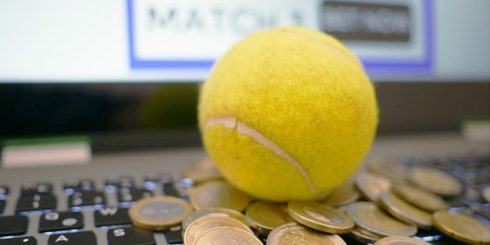 tennis balls and coins