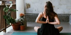 yoga - on balcony, at home - to avoid depression