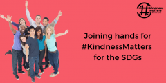 Smiling youth hold up arms in greeting with caption Joining hands for #KindnessMatters for the SDGs