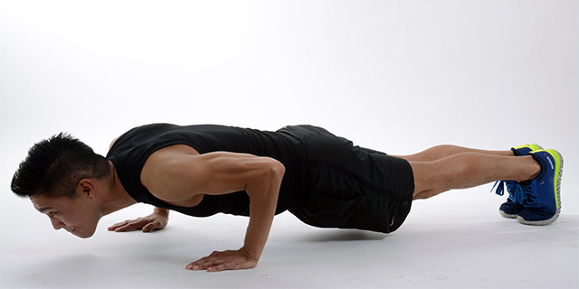 working out pushup plank