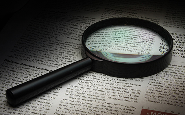 magnifying glass fact finding